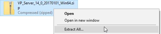 Extracting the zipped VP Server