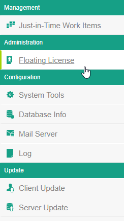Selecting the Floating License menu