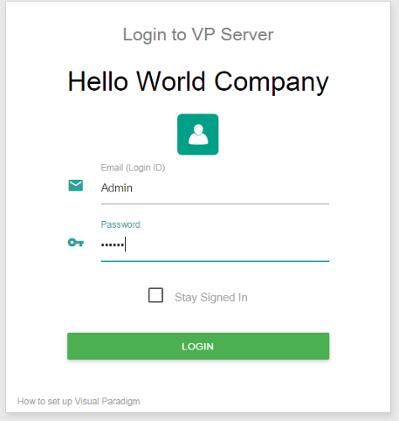 Logging into VP Server as administrator
