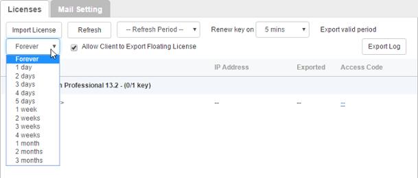Adjusting floating license 'Export valid period'