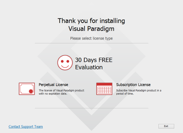 To start using Visual Paradigm