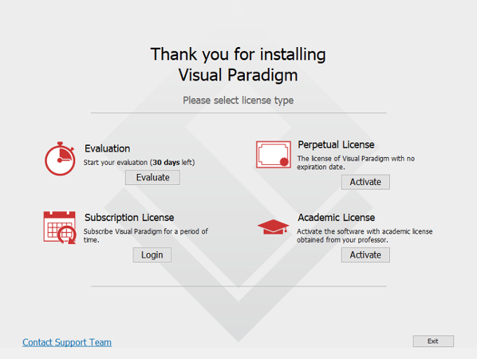 Select a way to activate Visual Paradigm
