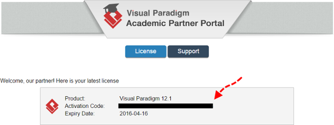 Copy the activation code from Academic Partner Portal