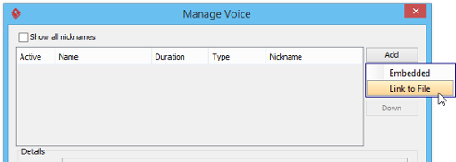 Try to add a link to an audio file