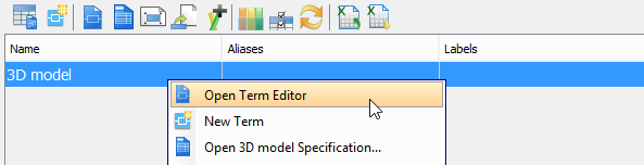 Click Open Term Editor from the pop-up menu