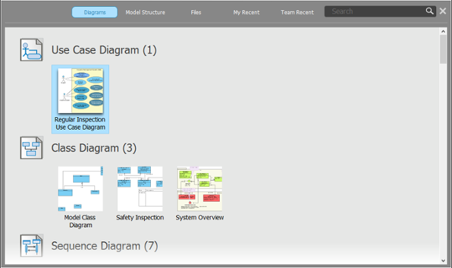 Diagrams view of Project Browser
