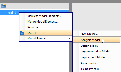 Create a model in Model Structure view