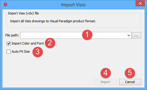 An overview of Import Visio window