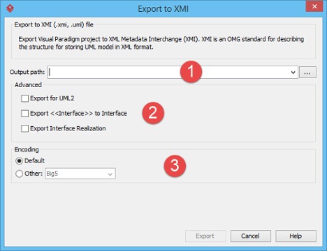 An overview of the Export to XMI window