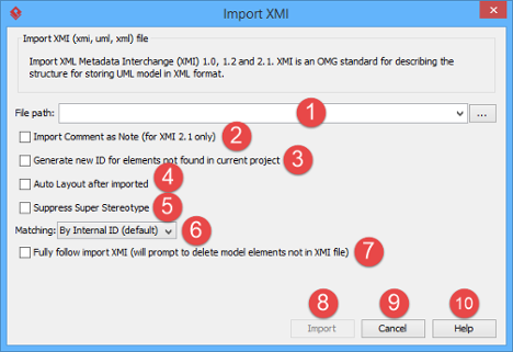 An overview of Import XMI window