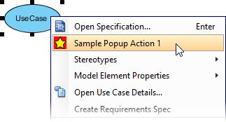 Popup menu with user-defined menu item