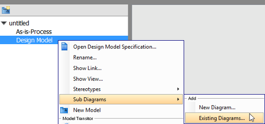 Moving diagram to model in visual paradigm add existing diagram ccuart Images