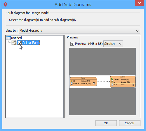 Check a diagram in Add Sub Diagrams window
