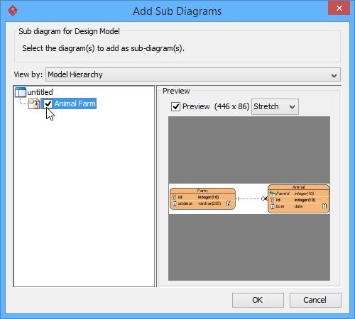 Check a diagram in Add Sub Diagrams window