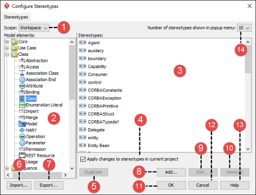 An overview of Configure Stereotypes window