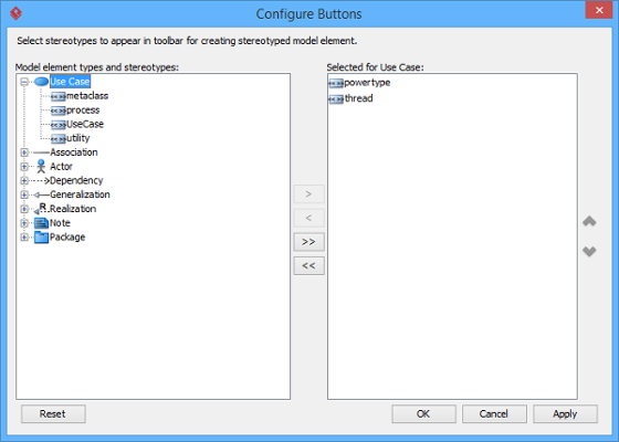 Configure buttons in diagram toolbar