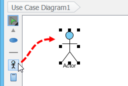 Click an actor on the diagram pane
