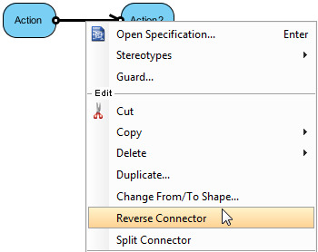 Select Reverse Connector from the pop-up menu