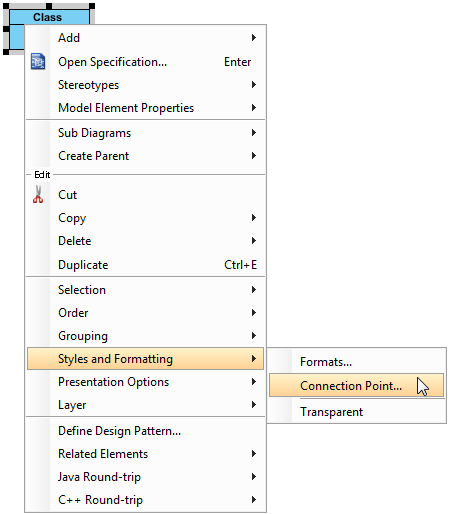 Open Select Connection Point Style dialog box