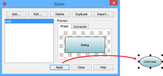 Apply styles to selected shape