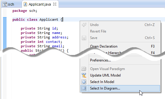 Open the view of UML class from a source file
