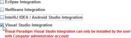 Select Visual Studio Integration