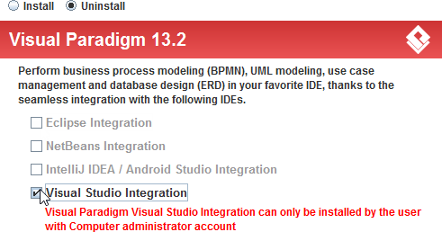 Select Visual Studio integration for uninstallation