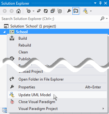 Update the whole UML project from a Visual Studio project