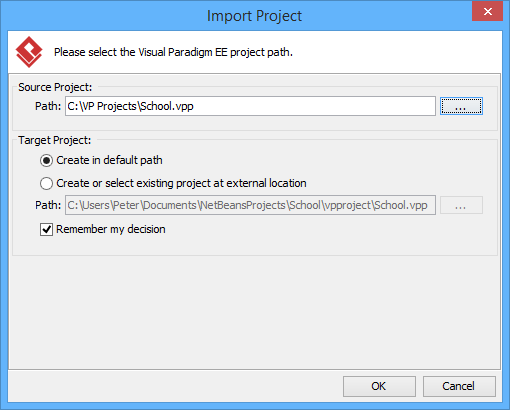 Import an existing .vpp project file