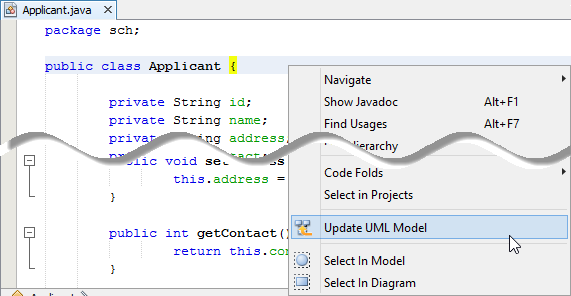 update uml model from source file - Uml Reverse Engineering