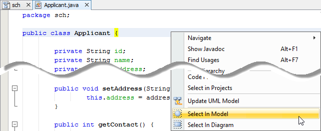 Open the UML class from a source file