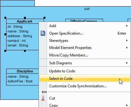 Select source file from UML class