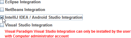 Select IntelliJ IDEA / Android Studio Integration