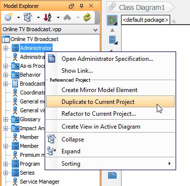 Duplicate a model element
