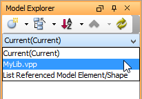 Browsing model elements in reference project