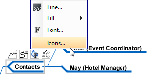 To edit icons for a node
