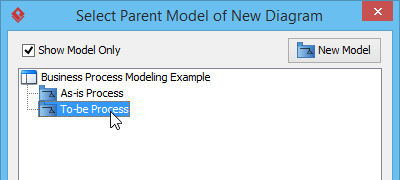 Selecting a model for storing the new diagram