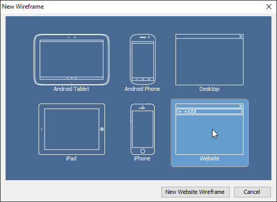 Select a type of wireframe to create