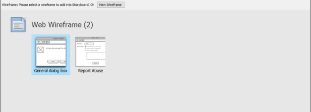 Wireframe selection screen