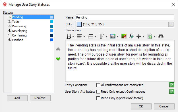 The Manage User Story Statuses window