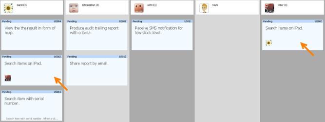 User story in multiple member columns