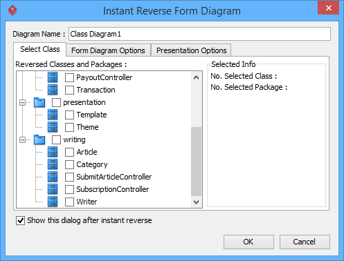 the instant reverse form diagram window - Uml Reverse Engineering