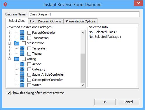 The Instant Reverse Form Diagram window