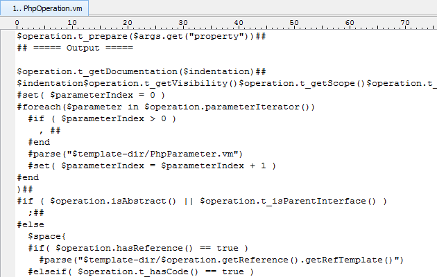 Open PhpOperation.vm in text editor