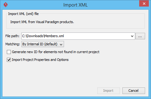 The Import XML window