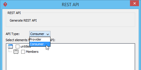 Select Consumer to be API Type