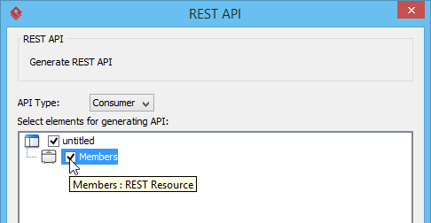 Select the REST Resource to be generated