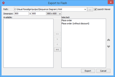 The Export to Flash window
