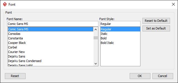 The Font window