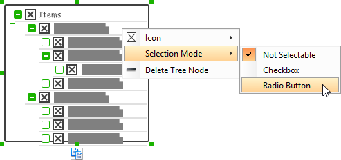 Adjusting the selection mode for all tree node
